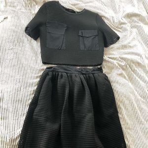 2 piece Zara crop top and skirt black mesh